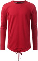URBANCREWS Mens Hipster Hip Hop Basic Pleated Crewneck Sweatshirts RED, S