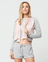 Socialite Satin Knit Womens Bomber Jacket