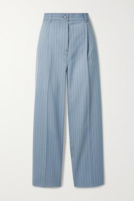Acne Studios Pleated Pinstriped Wool Straight-leg Pants - Blue