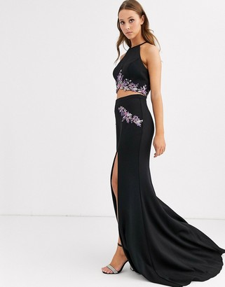 Jovani two pieces with fishtail skirt-Black
