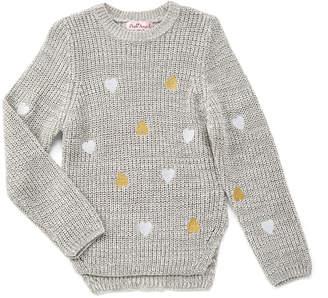 Pink Angel Girls' Pullover Sweaters Twist - Twist Gray Metallic Heart Sweater - Toddler & Girls