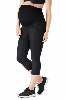 Belly Bandit Power Capri Leggings Womens Pregnancy Bump Active Wear Supportive Stretch Maternity - Black-Camo - Large