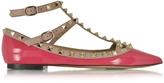 Valentino Rockstud Deep Fuchsia & Poudre Patent Leather Ballerina Shoe