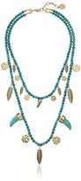 "Jessica Simpson Coin, Horn, and Feather Beaded Necklace, 22-28"", 20"" + 2"" Extender"
