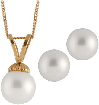 Splendid Pearls Plated 7-7.5Mm Pearl Drop Earrings & Necklace Set