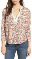 Lucky Brand Smocked Floral Print Blouse