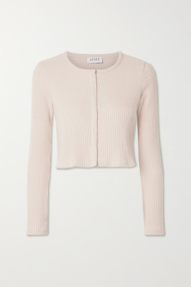 Leset Alison Cropped Ribbed Stretch-jersey Cardigan - Pink
