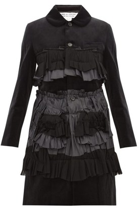 Comme des Garcons Ruffled Velvet Coat - Womens - Black