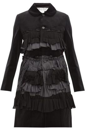 Comme des Garcons Ruffled Velvet Coat - Womens - Black