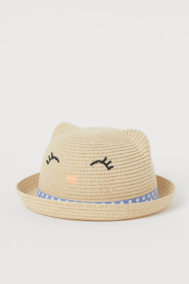 H&M Straw Hat with Ears - Beige