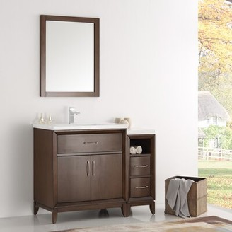 "Cambridge Silversmiths 36"" Single Traditional Bathroom Vanity Set with Mirror Fresca Base Finish: Antique Coffee"