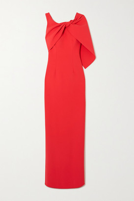 Safiyaa Knotted Draped Stretch-crepe Gown - Red