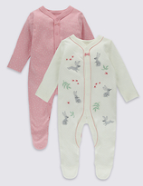 Marks and Spencer 2 Pack Embroidered Bunny Cotton Sleepsuits