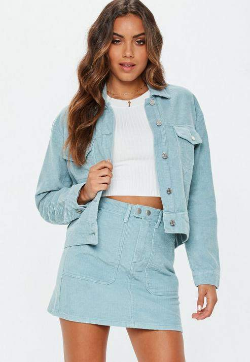 Missguided Light Blue Cord Trucker Jacket Co-Ord