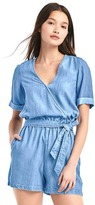 TENCEL V-neck wrap romper