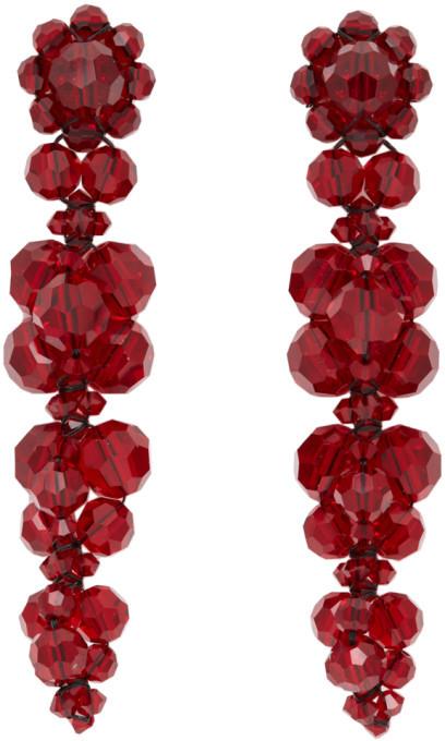 Simone Rocha Red Cluster Drip Earrings