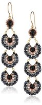 Miguel Ases Onyx and Hematite Long Drop Earrings