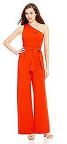 Antonio Melani Carlos One-Shoulder Belted Solid Scuba Crepe Jumpsuit