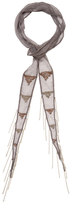 "Chan Luu Beaded Triangle Embroidered Skinny Scarf, 70"" x 2"""