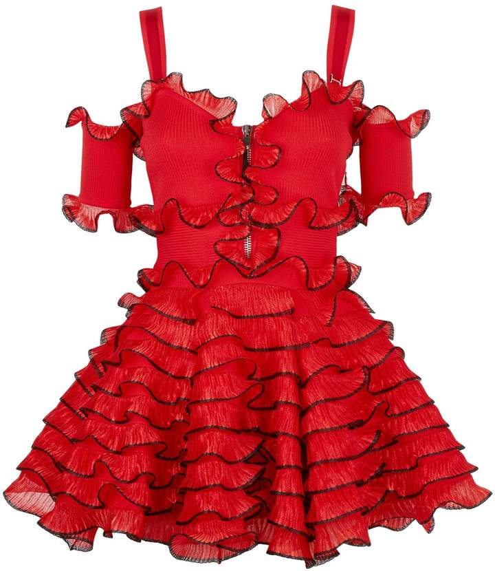 Alexander McQueen Tiered Ruffle Mini Dress