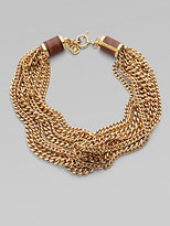 Goldtone Multi-Row Chain Necklace