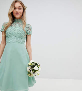 Chi Chi London Petite 2 in 1 High Neck Midi Dress with Crochet Lace-Green