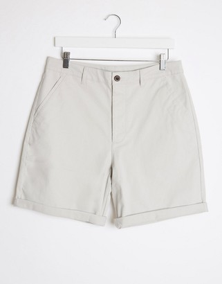 ASOS DESIGN relaxed skater chino shorts in ice gray