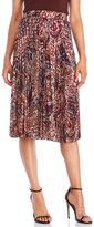Haute Hippie Pleated Paisley Midi Skirt