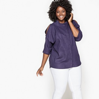 Castaluna Plus Size Linen Mix Blouse