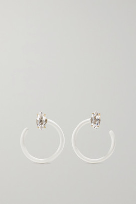 BEA BONGIASCA Small Tendril Circle 9-karat Gold, Enamel And Rock Crystal Earrings - White