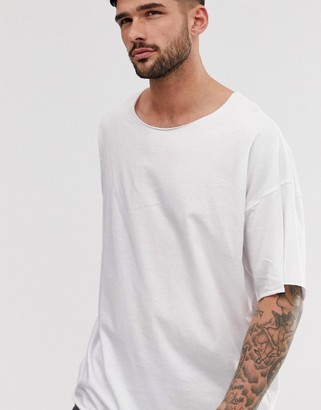Asos DESIGN oversized t-shirt with raw neck in white