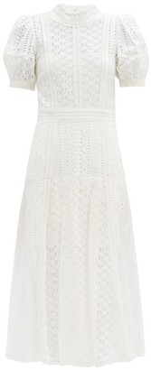 Self-Portrait Open-back Broderie-anglaise Cotton Dress - White