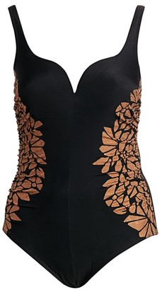 Miraclesuit Swim, Plus Size Gilted As Charged Ruched Leopard-Print One-Piece Swimsuit