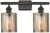 Innovations Lighting Cobbleskill 2-Light Bath Fixture, Mercury Glass, Oil Rubbed Bronze