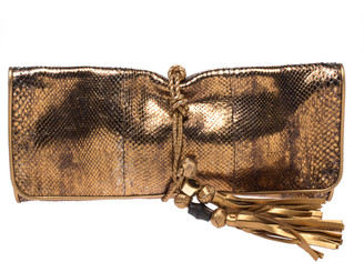 Gucci Metallic Gold Python Malika Clutch
