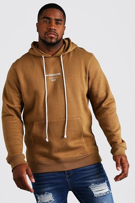 boohoo Mens Brown Big & Tall MAN Official Hoodie With Drawcord, Brown