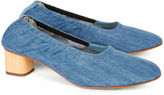 Robert Clergerie Denim Pixie Wooden Heel Pumps