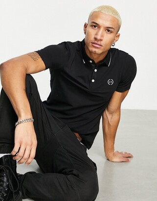 Armani Exchange slim fit tipped logo polo in black
