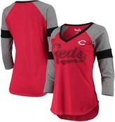 Unbranded Women's Touch Red/Gray Cincinnati Reds Fan for Life Raglan V-Neck 3/4-Sleeve T-Shirt