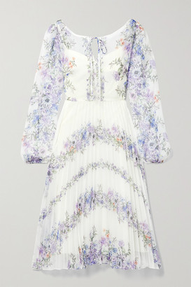 Marchesa Notte Pleated Floral-print Chiffon Dress - Ivory