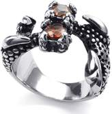 TEMEGO Jewelry Mens CZ Stainless Steel Ring, Vintage Gothic Dragon Claw Band, Orange Silver