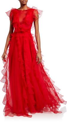 Flor Et. Al Colima Organza Cap-Sleeve Ruffle Gown