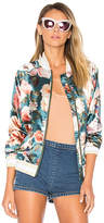 Tularosa x REVOLVE Emma Bomber Jacket in Teal. - size L (also in M,S,XL,XS)