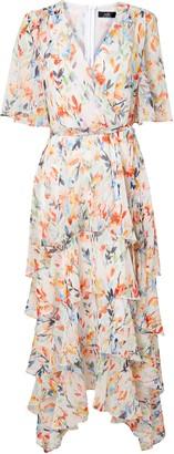Wallis Cream Watercolour Floral Print Midi Dress