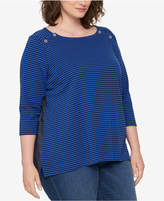 Tommy Hilfiger Plus Size Cotton Striped Chambray-Back Top, Created for Macy's