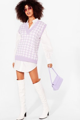 Nasty Gal Womens Nowhere to Be Houndstooth Knitted Tank Top - Lilac