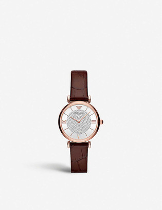 Emporio Armani AR11269 Gianni rose gold-plated stainless steel and leather watch