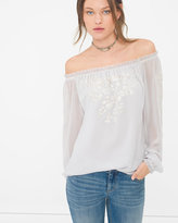 White House Black Market Embroidered Off-The-Shoulder Blouse