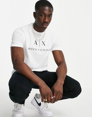 Armani Exchange text logo t-shirt in white