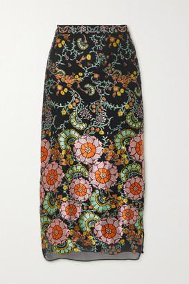 Alice Olivia - Maive Printed Devore-satin Midi Skirt - Black